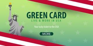 Lotteribaner för grönt kort Invandring och visum till USA royaltyfri illustrationer