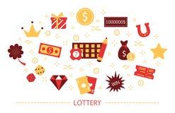 Lotteribegrepp Vågspel och bingo modigt spelrum royaltyfri illustrationer