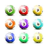 Lotterie nummerierte die eingestellten Bälle Stockfoto