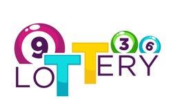 Lotteriehelles Handelsfirmenzeichen mit nummerierten glänzenden Bällen Stockfoto