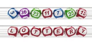 Lotteriekugeln in den Glasgefäßen Stockbilder