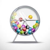 Lotteriemaschine mit Lotteriebällen nach innen Lottospielglück-Konzeptillustration Lizenzfreie Stockfotos