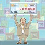Lotterivinnare 10M Holding en kontrollvektor vektor illustrationer