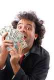 Lottery. Lucky man showing money and smile royalty free stock photo