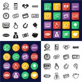 Lottery All in One Icons Black & White Color Flat Design Freehand Set. This image is a vector illustration and can be scaled to any size without loss of Royalty Free Stock Photos
