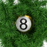 Lottery ball with pine branch. 3d illustration. Suitable for christmas themes Stock Photos
