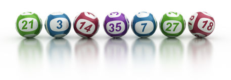 Lottery balls. 3d rendering of lottery balls on a white reflective table Royalty Free Stock Photo