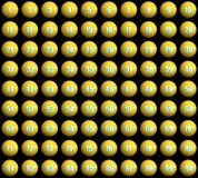 Lottery balls. 3d rendered yellow lottery balls, 1-90 Stock Images