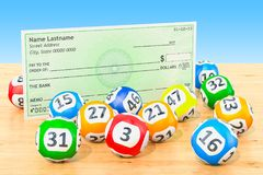 Lottery balls with blank bank check on the wooden table, 3D rend. Lottery balls with blank bank check on the wooden table, 3D Royalty Free Stock Image