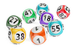 Lottery balls closeup, 3D rendering. On black background Royalty Free Stock Image