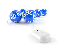 Lottery balls with computer mouse Royalty Free Stock Image