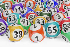 Lottery balls, 3D rendering. On black background Royalty Free Stock Photos
