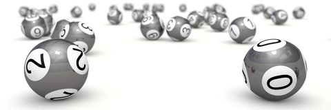 Lottery balls with depth of field. (chrome balls version Stock Photography