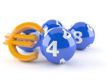 Lottery balls with euro symbol Stock Photography