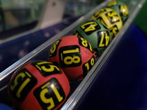 Lottery balls during extraction Royalty Free Stock Photo