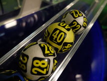 Lottery balls during extraction Royalty Free Stock Images