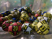 Lottery balls during extraction Royalty Free Stock Photos
