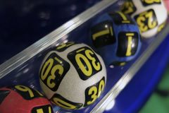 Lottery balls during extraction Stock Photo
