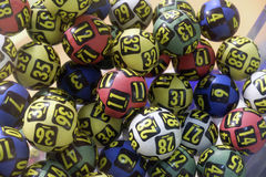 Lottery balls during extraction Royalty Free Stock Photography