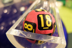 Lottery balls during extraction. Image of lottery balls during extraction of the winning numbers Royalty Free Stock Photography