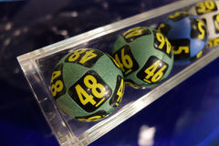 Lottery balls during extraction. Image of lottery balls during extraction of the winning numbers Royalty Free Stock Photos