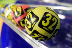 Lottery balls during extraction. Image of lottery balls during extraction of the winning numbers Stock Photography