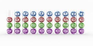 Lottery balls in glass tubes vector illustration