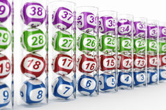 Lottery balls in glass tubes Royalty Free Stock Photo