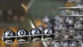 Lottery balls make up 2022. 3D rendering. Lotto balls make up 2022 number. 3D Stock Photography
