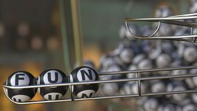 Lottery balls make up FUN word. 3D rendering. Lottery balls make up FUN word. 3D Royalty Free Stock Image