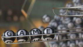 Lottery balls make up GAME word. 3D rendering. Lottery balls make up GAME word. 3D Stock Image