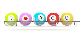 Lottery balls with sign I love you Stock Photo