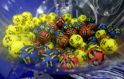 Lottery balls in a sphere Stock Image