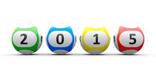 Lottery balls 2015. Lottery balls on a white table represents the new 2015, three-dimensional rendering Royalty Free Stock Images