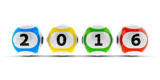 Lottery balls 2016. Lottery balls on a white table represents the new 2016, three-dimensional rendering Stock Photo