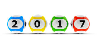 Lottery balls 2017 #2. Lottery balls on a white table represents the new 2017, three-dimensional rendering, 3D illustration Royalty Free Stock Photos