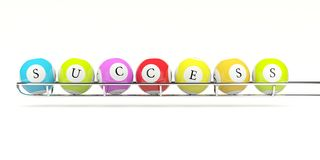 Lottery balls with word success Stock Photos