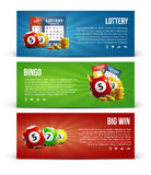Lottery banners with realistic icons balls coins  ticket Stock Photo