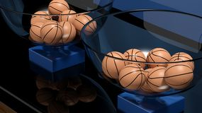 Lottery baskets with basketball balls Stock Photo