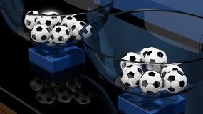 Lottery baskets with soccer balls Royalty Free Stock Images