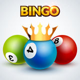 Lottery bingo jackpot design template poster. Bingo lottery illustration with crown. Success loto concept vector illustration
