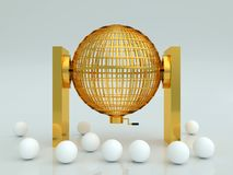 Lottery cage in gold with white blank balls Stock Photo