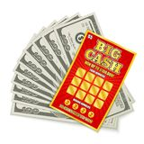 Lottery Cash Win. Scratch lottery card big cash game win realistic composition with hundred dollars banknotes prize money vector illustration stock illustration