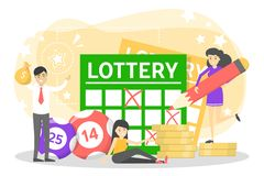 Lottery concept. Gamble and bingo. Play game. And win money, great opportunity. Hobby or addiction. Isolated vector illustration in cartoon style vector illustration