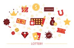 Lottery concept. Gamble and bingo. Play game. And win money. Hobby or addiction. Set of colorful icons. Isolated flat vector illustration royalty free illustration
