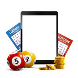 Lottery 3d icon balls ticket phone  on white vector illu Royalty Free Stock Images