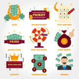Lottery flat design icon collection royalty free illustration