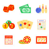 Lottery flat icon set Royalty Free Stock Images
