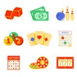 Lottery flat icon set royalty free illustration