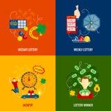 Lottery 4 flat icons Stock Image